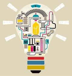 Sparks idea in bulb factory vector image