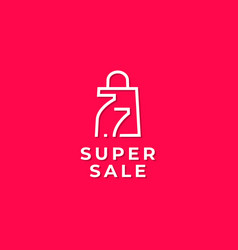 77 shopping day sale poster or flyer design vector