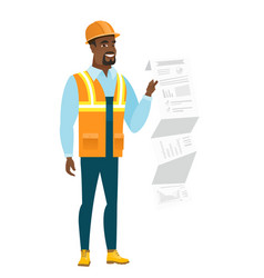 African-american builder giving presentation vector