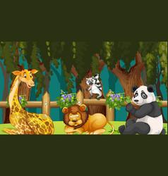 Animals in wood scene vector
