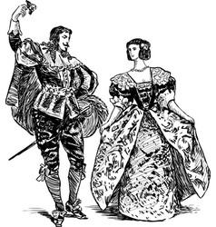 Antique dancers pair vector