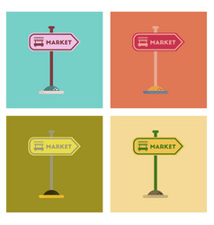 assembly flat icons sign of market vector image