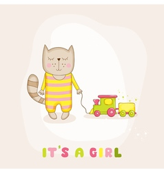 Baby girl cat with a train - shower card vector