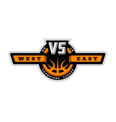 basketball vs sports logo emblem vector image