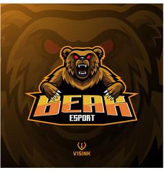 bear sport mascot logo design vector image