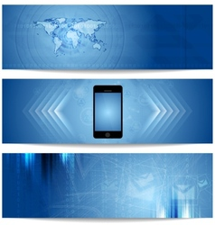 Blue abstract tech banners for web design vector