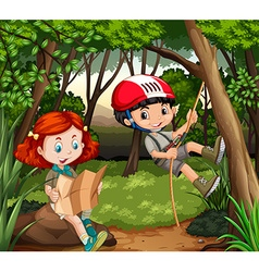 Boy and girl hiking in the woods vector image