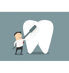 Businessman cleaning a big tooth with toothbrush vector