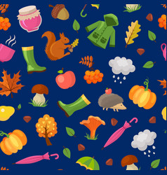 cartoon autumn elements and leaves pattern vector image