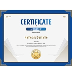 Certificate of achievement template in blue border vector image