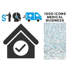 Check Building Icon with 1000 Medical Business vector image vector image