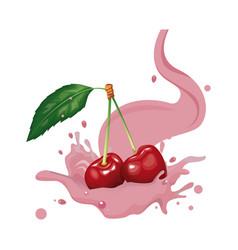 cherries and cream vector image