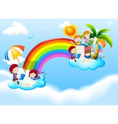 Children reading books over the rainbow vector