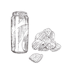 chips and soda monochrome sketch style icon set vector image