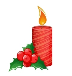 Christmas candle and holly vector image