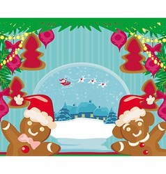 christmas card with a ginger-bread and Santa Claus vector image