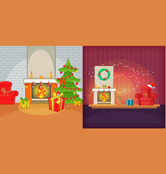 Christmas room banner set cartoon style vector