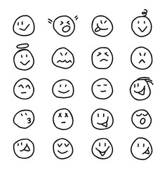 Collection emoticonssmiles icon in hand drawn vector