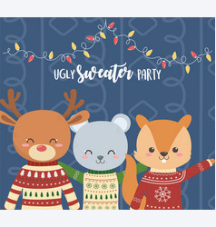 Cute bear deer and squirrel christmas ugly sweater vector