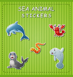 Cute cartoon sea animals on sticker vector