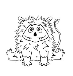 Cute fluffy hairy bamonster for coloring book vector