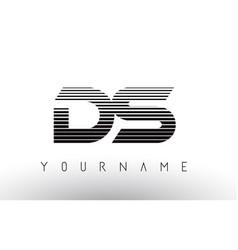 Ds black and white horizontal stripes letter logo vector