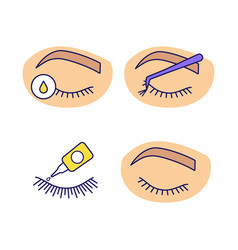 Eyelash extension color icons set vector