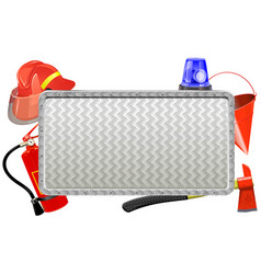 Firefighter metal board vector