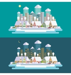 Flat design urban winter landscape vector image