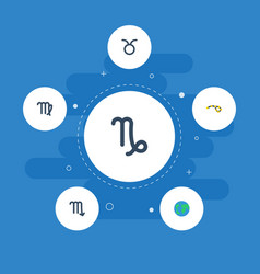 flat icons goat zodiac sign horoscope and other vector image