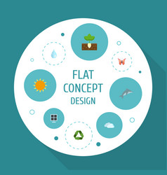 Flat icons sprout water playful fish and other vector