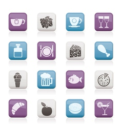 food and drink icons vector image