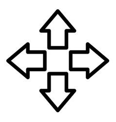 four arrows line icon direction vector image