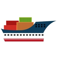 Freigther boat with containers isolated icon on vector