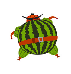 funny brave watermelon cartoon character man in vector image