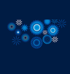 geometric floral style snowflakes pattern on blue vector image