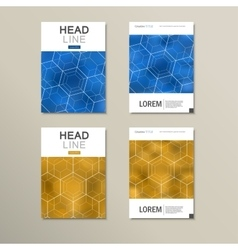 Geometric hexagon pattern design set vector image