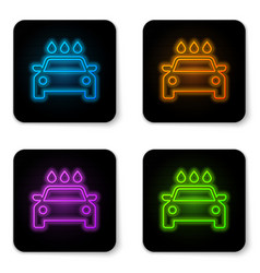 Glowing neon car wash icon isolated on white vector