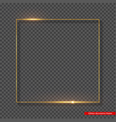 Golden glitter frame with glowing lights vector