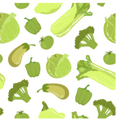 green farm fresh vegetables seamless pattern vector image