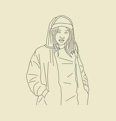 hand drawn sketch girl 21 vector image