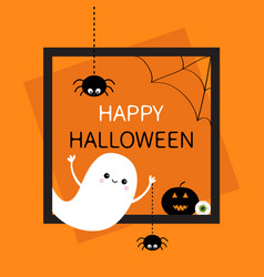 Happy halloween square frame flying ghost vector