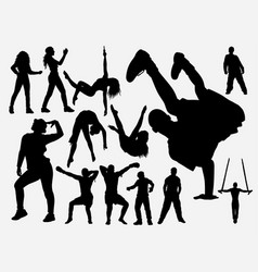 Hip hop and acrobat dance silhouette vector