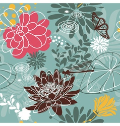 insect seamless floral pattern vector image