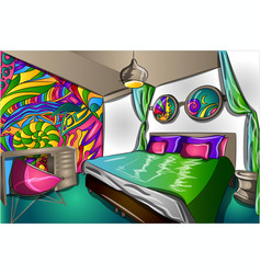 interior hippie colorful room with a bed vector image