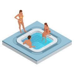 Isometric jacuzzi with swirling water isolated vector