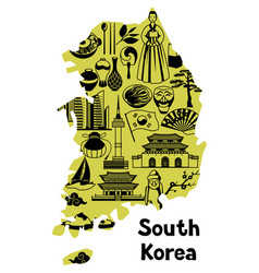 Korea map design korean traditional symbols and vector