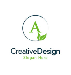 Letter a leaf naturally creative business logo vector