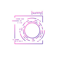 Line icons with symbol weather isolated sun icon vector