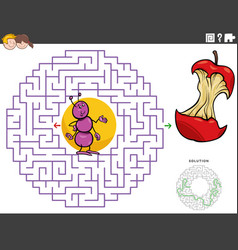 Maze educational game with cartoon ant and apple vector